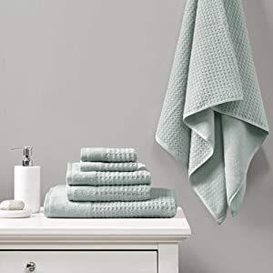 Madison Park 6 Piece 100% Cotton Set for Bathroom, 2 Bath Hand Towels, 2 Washcloths, Spa Luxurious Jacquard Waffle Comb Textured Design, 6 pcs, Aqua