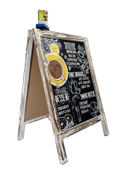 PIZARRA CABALLETE con TIZAS Y BORRADOR / MARCO rústico de madera de pie para su restaurante, boda y evento. PIZARRA VINTAGE Cartel publicitario para ...