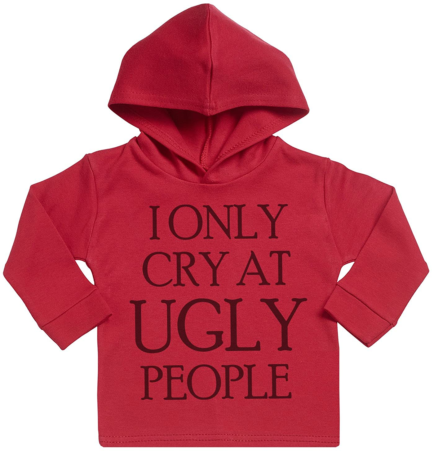 Spoilt Rotten SR - I Only Cry At Ugly People Baby Hoodie - Baby Boy Hoodie - Baby Girl Hoodie - Baby Gift - Baby Hooded Sweatshirt - Grey SRO16_H_GRY