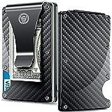 Carbon Fiber Money Clip Wallet - Aluminum Credit Card Wallet RFID - Mens Minimalist Slim Credit Card Holder - 2019 Upgraded Version