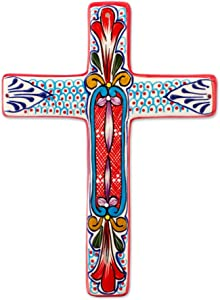 NOVICA Red and Blue Hand Painted Floral Ceramic Wall Mounted Cross, Red Lily'