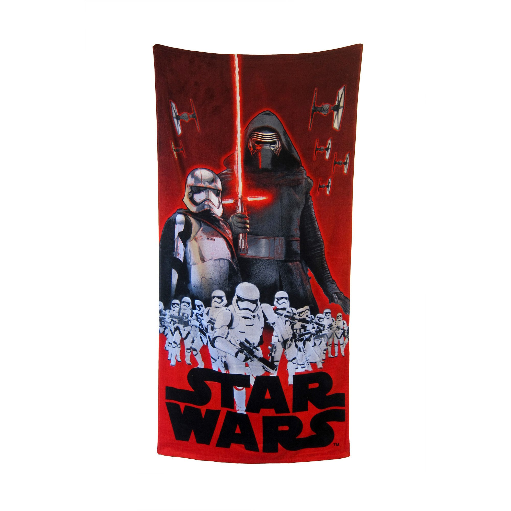 1 Piece Multi Star Wars Foes Of The Force 18 X 58 Inch Beach Towel, Red Black Blue White Disney Movie Character Kylo Ren, Captain Phasma Stormtroopers Colorful Absorbent Pool Towel, Cotton
