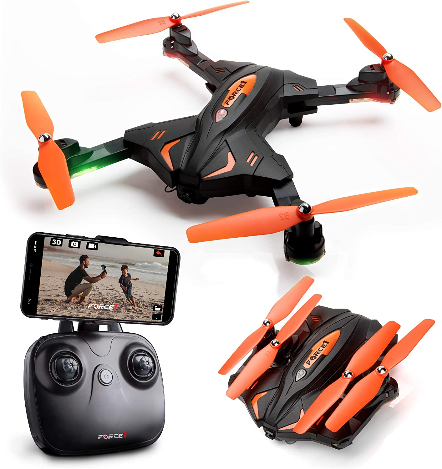 Foldable Drones with Camera for Adults or Kids – F111WF WiFi FPV Remote Control Quadcopter Drone for Beginners, Folding RC Drone Helicopter Toy Gifts