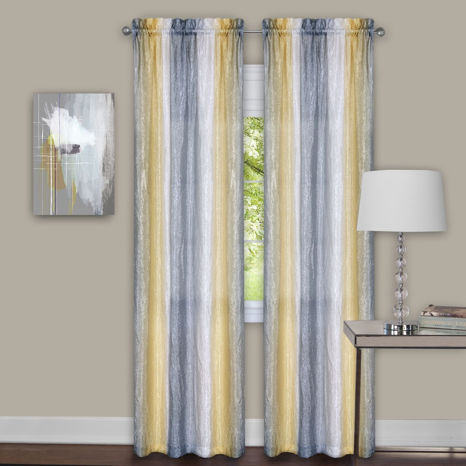 Kitchen Curtains Yellow And Gray: Yellow And Grey Window Curtain Panels