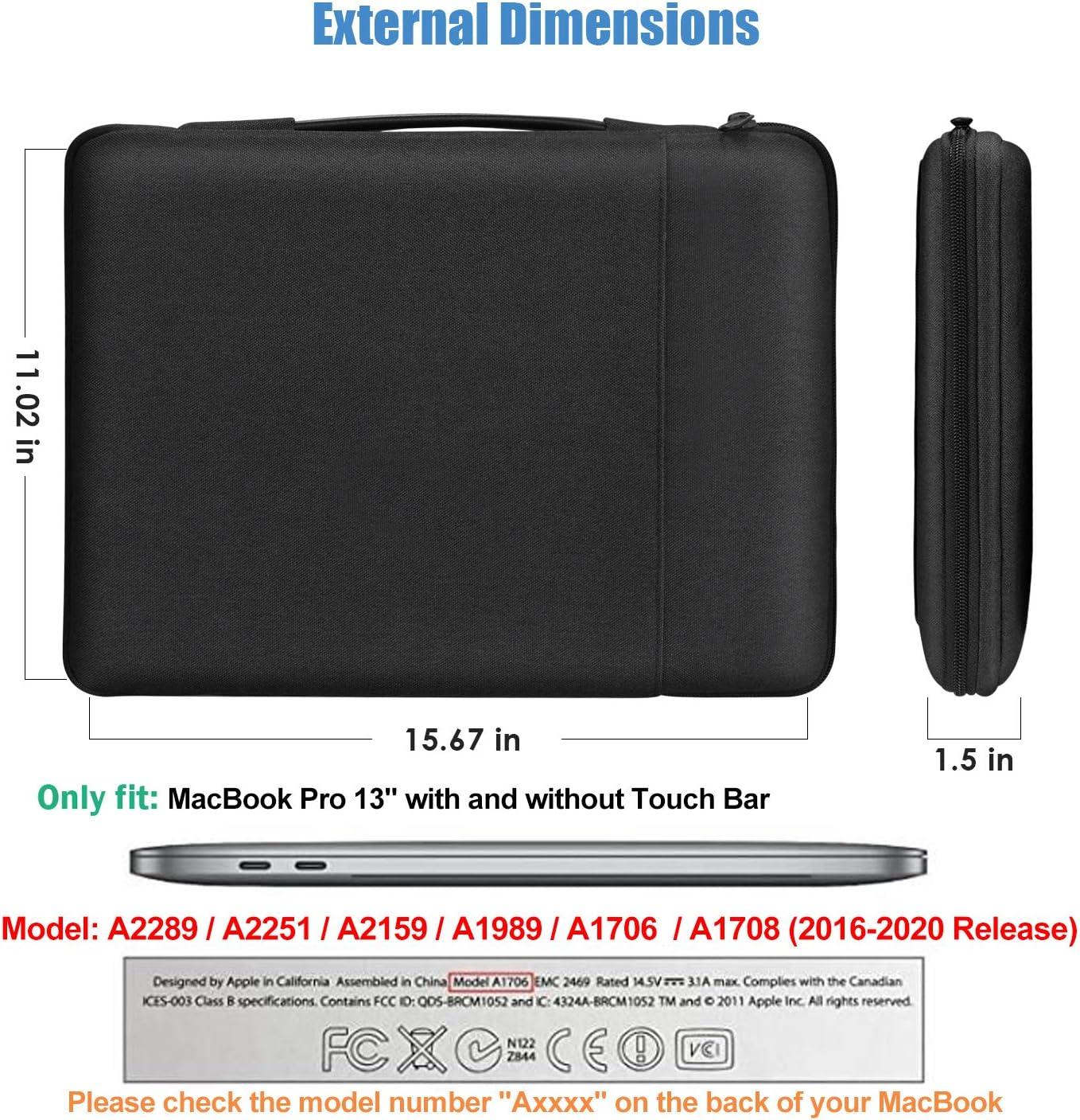 ProCase Estuche Duro Negro Bolsa Mensajera para MacBook Pro 13 Pulgadas Funda Protectora y Porta MacBook Compatible con MacBook Pro New 13 Modelos A2289 A2251 A2159 A1989 A1706 A1708