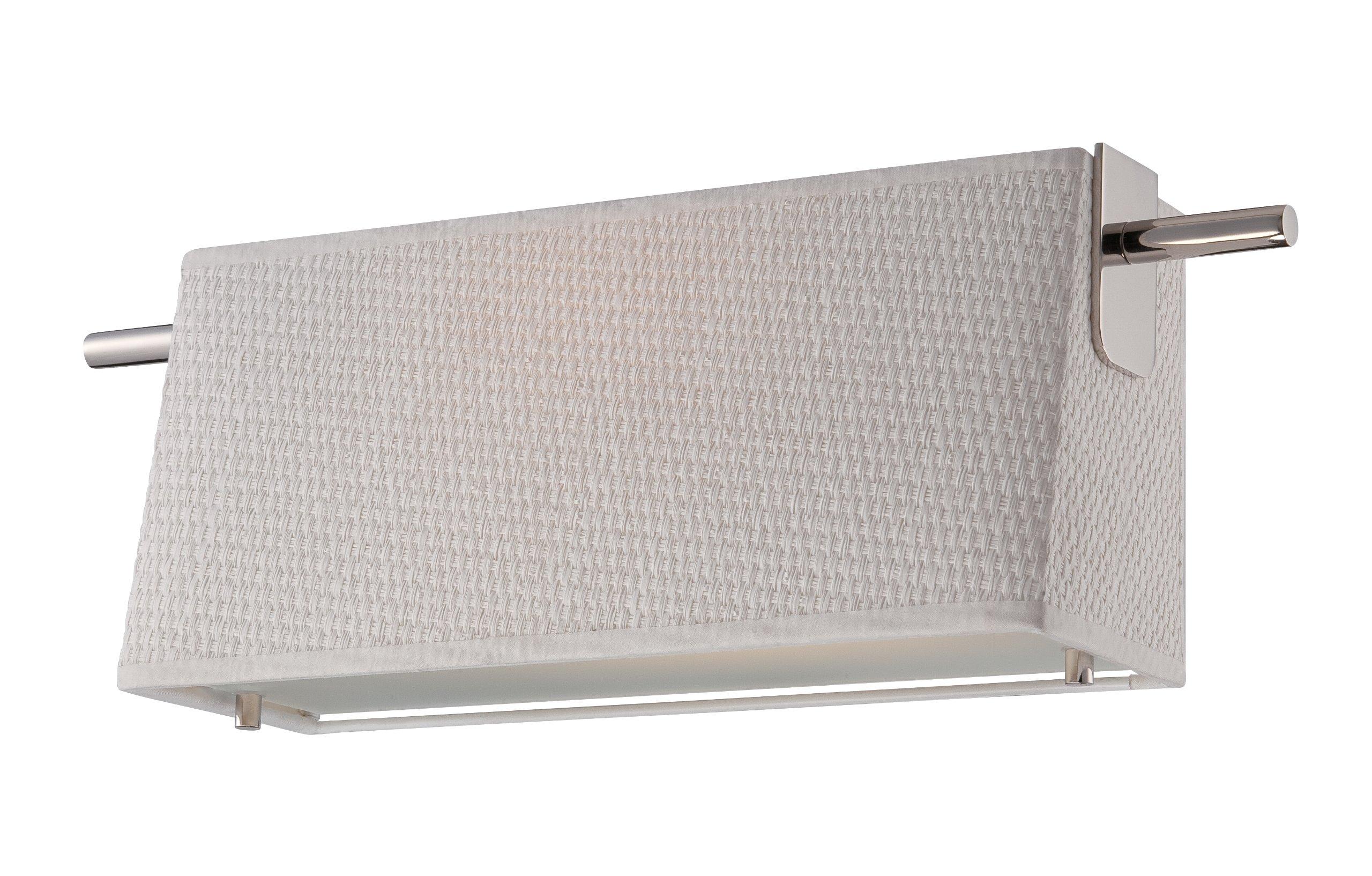 Nuvo Lighting 62/191 Claire LED One Light Wall Sconce 4.8 Watt 285 Lumens Soft White 2700K KolourOne LED Technology White Fabric Shade Polished Nickel Fixture