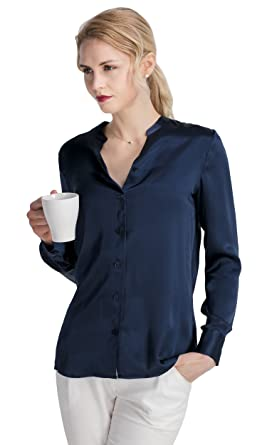 b284204fac964 LilySilk Silk Shirts for Women 22MM Stand Collar Power Blouse Button Long  Sleeve Pure Mulberry Soft