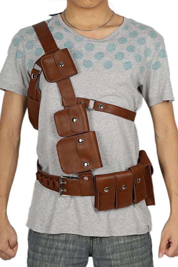 Xcoser Adult Belt Buckle Deluxe Brown PU Strap Cosplay Costume Accessory
