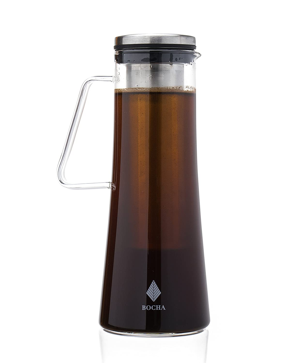 Cold Brew Iced Coffee Maker and Tea Infuser - 1L Glass Pitcher Carafe with Removable Stainless Steel Infuser, Airtight Lid and Free Cleaning Brush BOCHA CB1