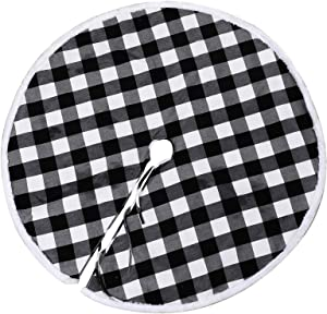 FLASH WORLD Buffalo Plaid Tree Skirt,52 Inch White and Black Christmas Tree Skirts with Luxury Faux Fur Edge for Merry Christmas Party Tree Decoration (52 inches, White and Black)
