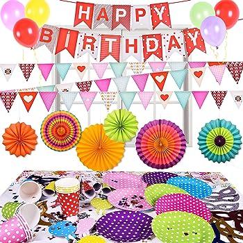 Fun Little Toys 73Pcs Birthday Decorations Party Supplies Set