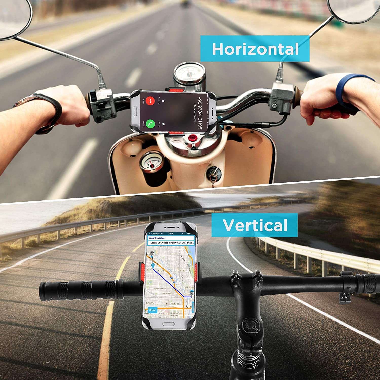 + Samsung Galaxy S3 S4 S5 S6 S7 Note 3//4//5,Nexus,HTC,LG,BlackBerry Bike Mount 6S 6S plus 5S 5C IPOW Universal Cell Phone Bicycle Rack Handlebar /& Motorcycle Holder Cradle Compatible with iPhone 6 6
