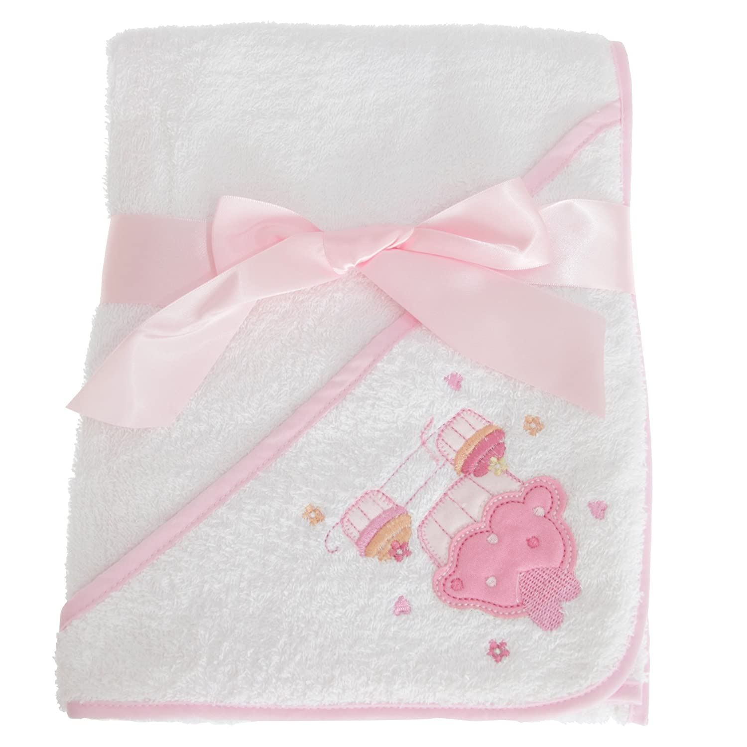 Snuggle Baby Hooded Towel For Someone Special With Cupcake Design (30 x 30 Inch) (White/Pink) UTBABY1485_1