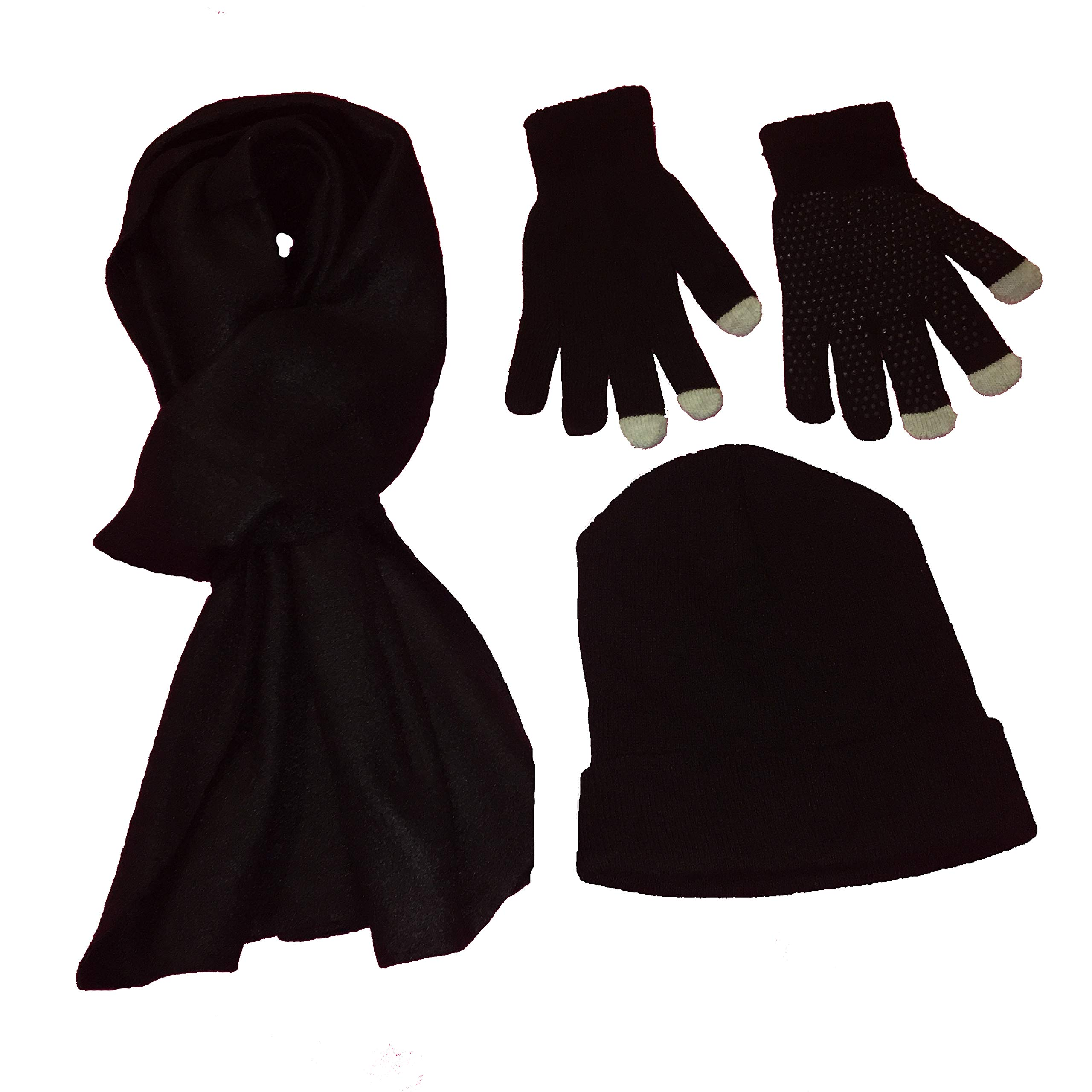 New Gear knit beanie, touch gloves, and fleece scarf bundle - black