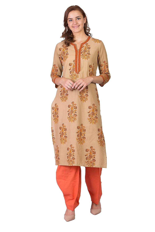 Beige SABHYATA Women's Kurta Ethnic Long Dress Pure Cotton Kurti Tops for Women Ladies Partywear