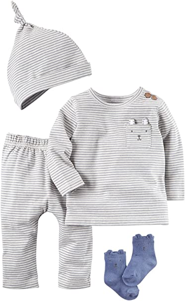 e67fd01a6 Amazon.com: Carter's Baby Boys' 4 Piece Babysoft Take-Me-Home Set 6 ...