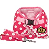 SELMAI Puppy Cat Small Girl Dog Dots Vest Harness Leash Set Mesh Padded No Pull Lead (Size Run Small,Please Check Size Details Carefully Before Purchase)