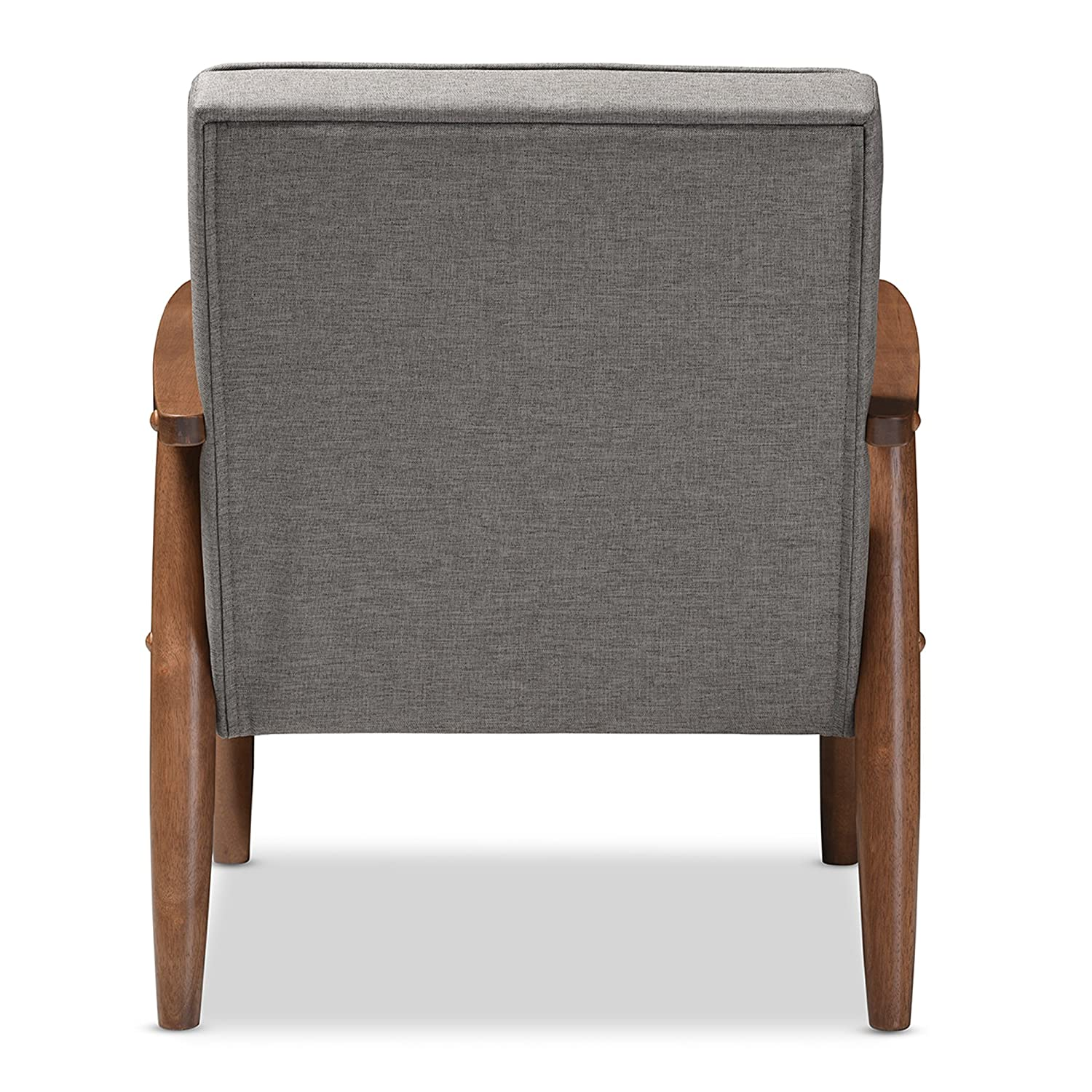 amazoncom baxton studio sorrento midcentury retro modern fabric upholstered wooden lounge chair grey kitchen u0026 dining - Mid Century Lounge Chair
