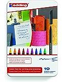 Edding 1200-10S - Estuche de metal con 10 rotuladores, multicolor