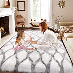 Fluffy Faux Fur Rug Nice for Women Teen Girls, Fuzzy Shag Area Rug for Living Room Bedroom, Aesthetic Home Bedroom Living Room Christmas Decor, Faux Sheepskin Rug as Sofa Couch Cover