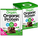 Orgain Organic Plant Based Protein Powder Travel Pack, Creamy Chocolate Fudge - 6g of Fiber, No Dairy, Gluten, Soy or Added S