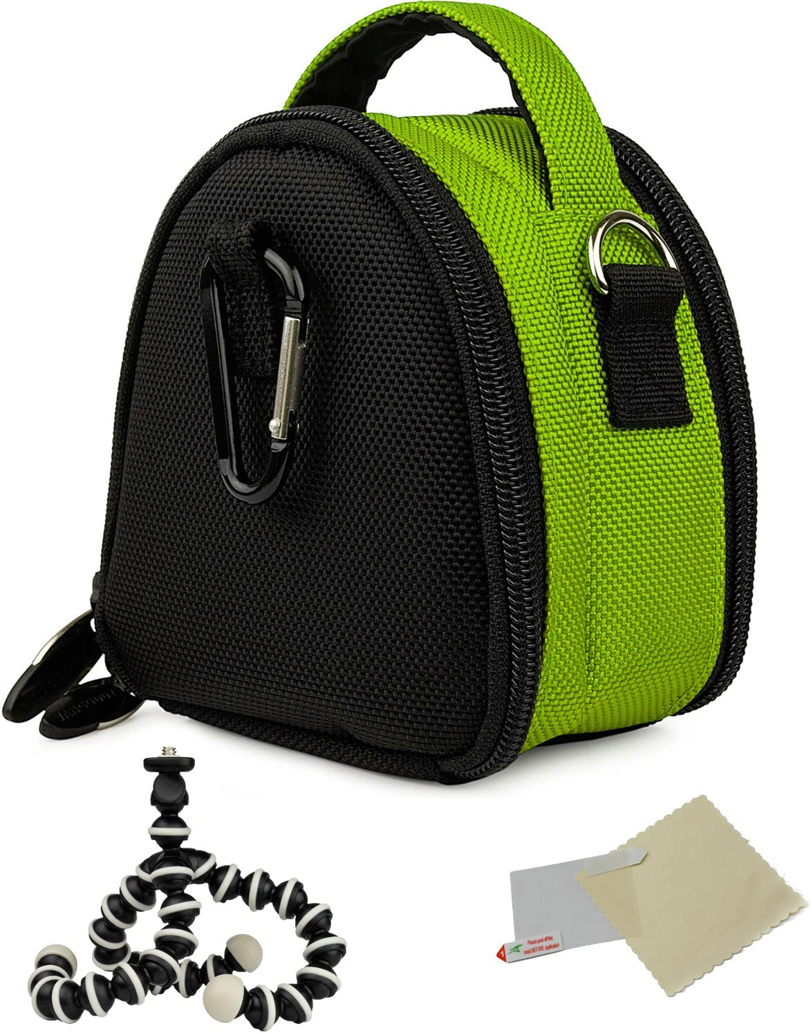 Green Mini Travel Shoulder Bag Carrying Case for Canon Power Shot IXUS is ELPH HS IXY Cameras and Screen Protector and Mini Tripod