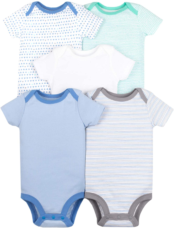 Lamaze Organic Baby Boys Lamaze Baby Organic 5 Pack Shortsleeve Bodysuits Blue 9M