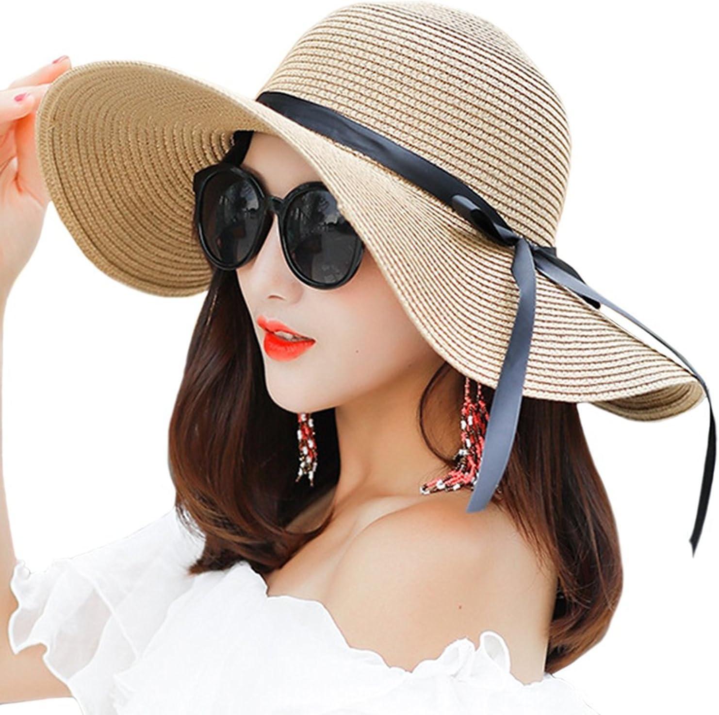 Haifly Donna Fiocco Pieghevole Bar Protezione UV Sole Cappello Cappello di Paglia Spiaggia Cappello Estivo Cappello Floppy Cappello Beige