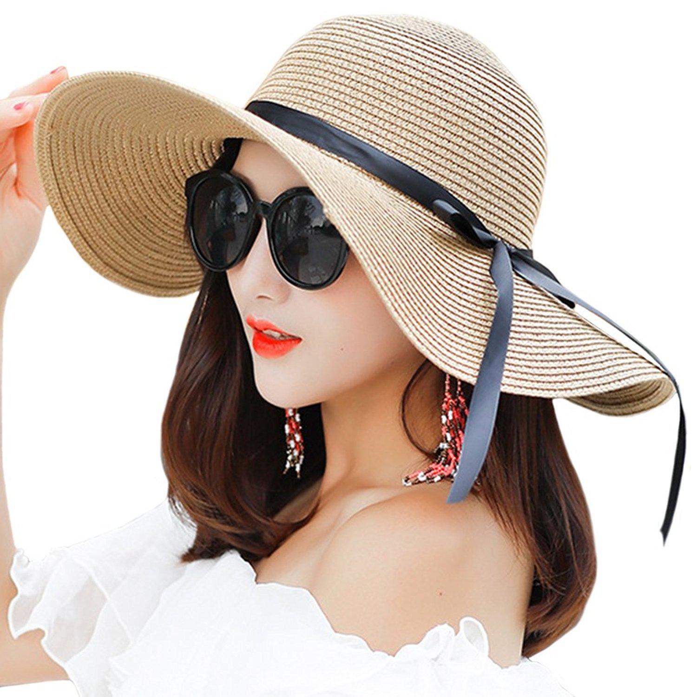 Women Foldable Summer Sun Hats Ladies Floppy Straw Hat Beach Hat Wide Brimmed Beige Haifly