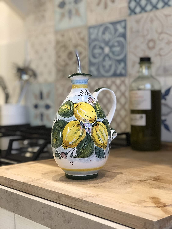 CERAMICHE DARTE PARRINI Italian Ceramic Art Pottery Hand Painted Oil Cruet Decorated Lemons Made ITALY Tuscan