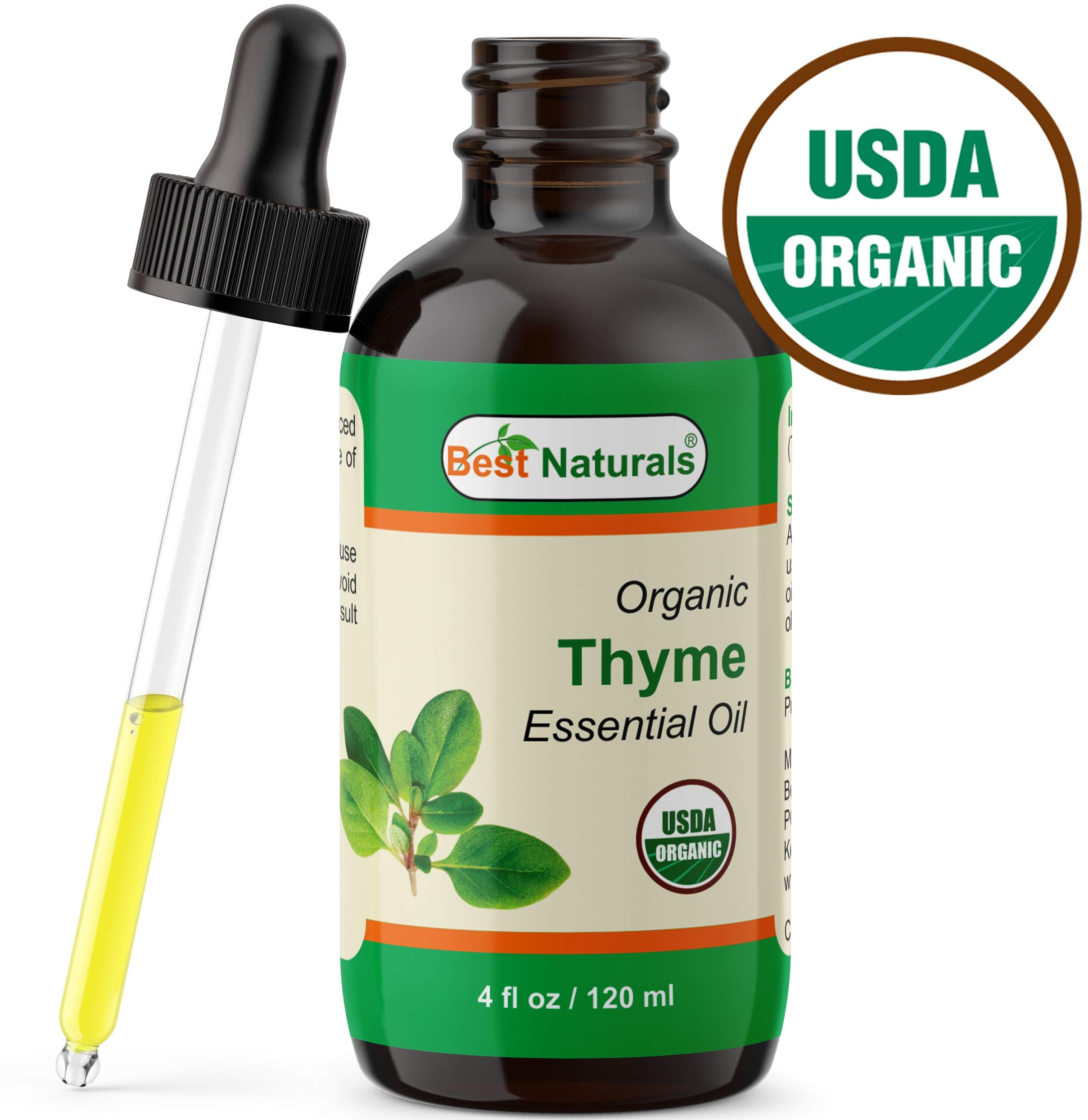 Best Naturals Certified Organic Thyme Essential Oil with Glass Dropper Thyme 4 FL OZ (120 ml) by Best Naturals