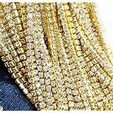 Aketek 10 Yard Crystal Rhinestone Close Chain Clear Trim Sewing Craft 2mm Gold color