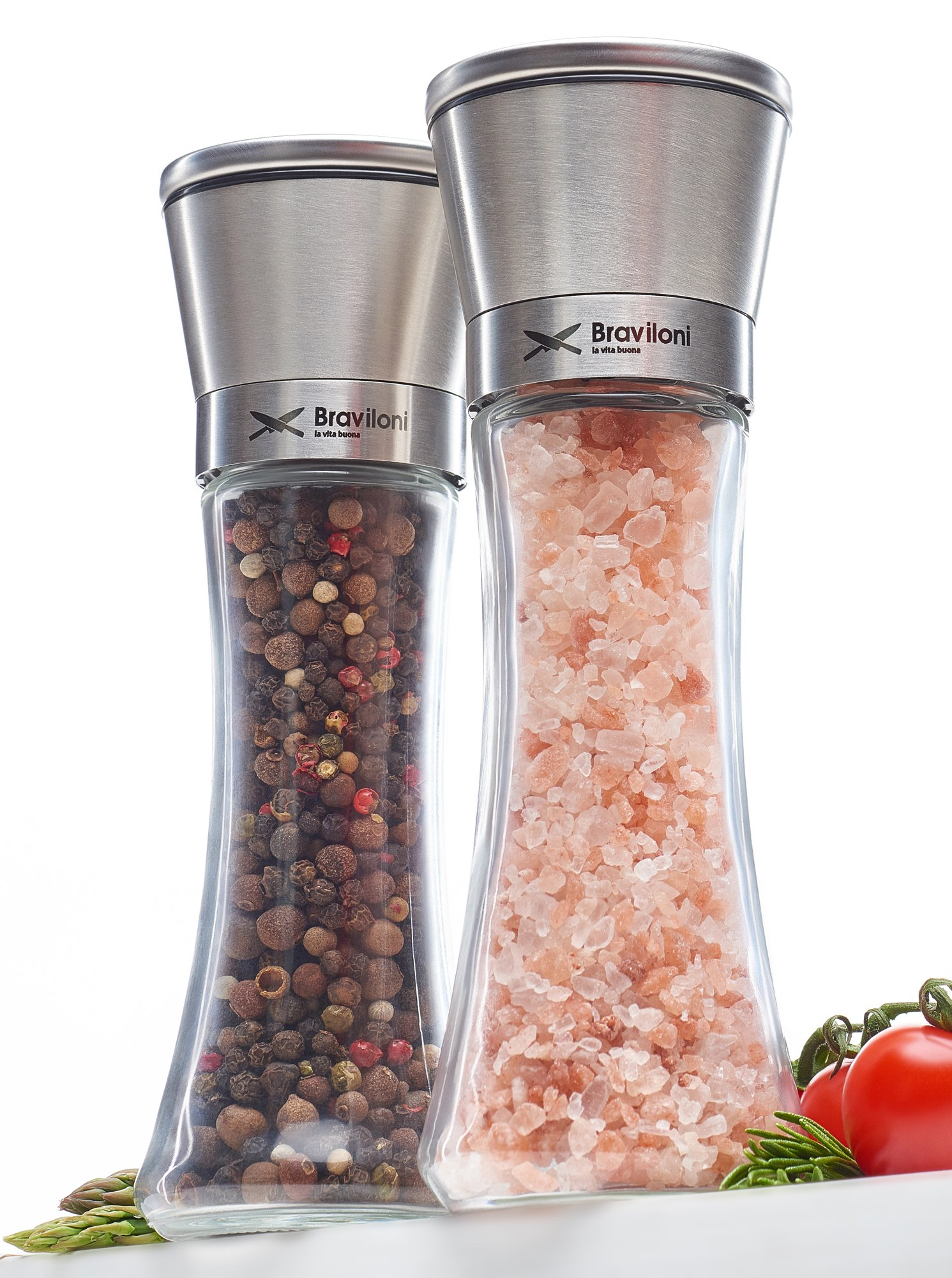 Salt and Pepper Grinder Set - Mill and Shakers Kit - Brushed Stainless Steel, Tall Premium Glass and Adjustable Ceramic Grinding System for Cooking Spices - Perfect on Kitchen by Braviloni