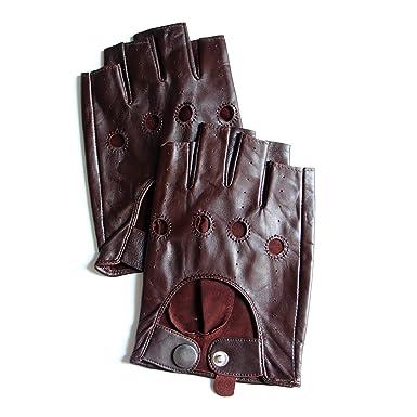 216902aca YISEVEN Men s Motorcycle Driving Fingerless Leather Gloves Unlined Classic Soft  Sheepskin 1 2 Half Finger