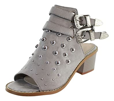 0968bf6c390 Larena Fashion New Womens Mid Block Heel Sandals Buckle Studs Peep Toe Ankle  Strap Shoes Sizes  Amazon.co.uk  Shoes   Bags