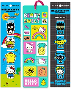 Re-marks Hello Kitty & Friends Kawaii Set of 9 Bookmarks - 8 Unique Magnetic Page Clips and 1 Tassel Bookmark