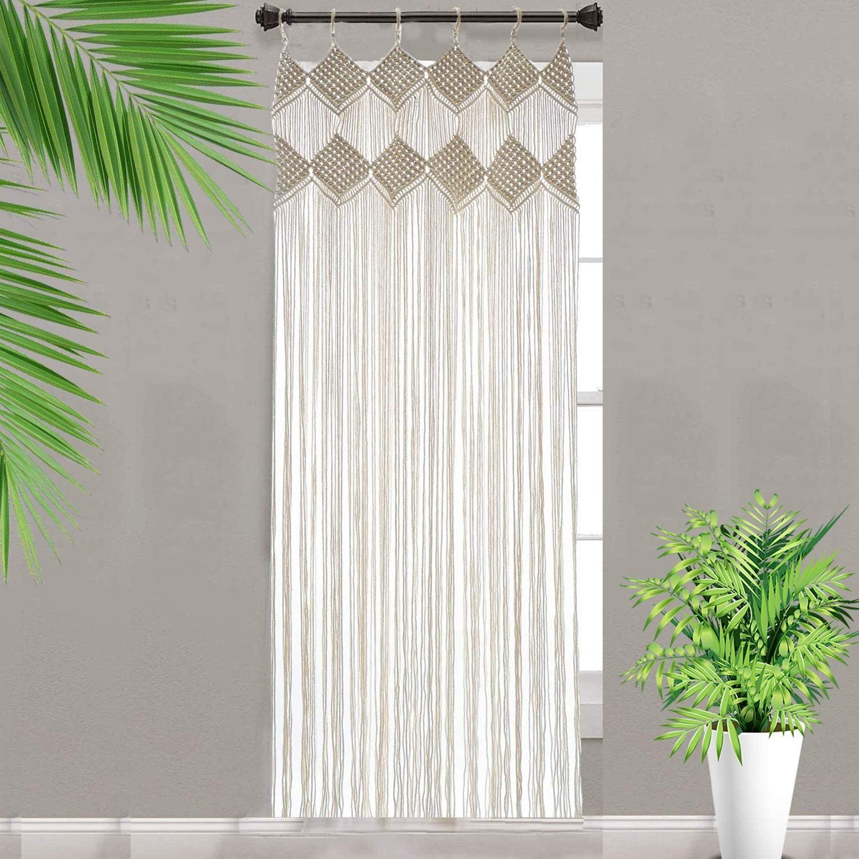 "Macrame Curtains for Window Doorway Boho Wall Decor Bedroom Bathroom Divider Bohemian Wedding Backdrop, 31.5"" L x 75"" H(No Curtain Rod)"