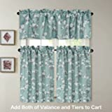 H.VERSAILTEX Kitchen Half Window Decorative Thermal Insulated Blackout Curtain Rod Pocket Tier Curtains - Aqua Floral Pattern