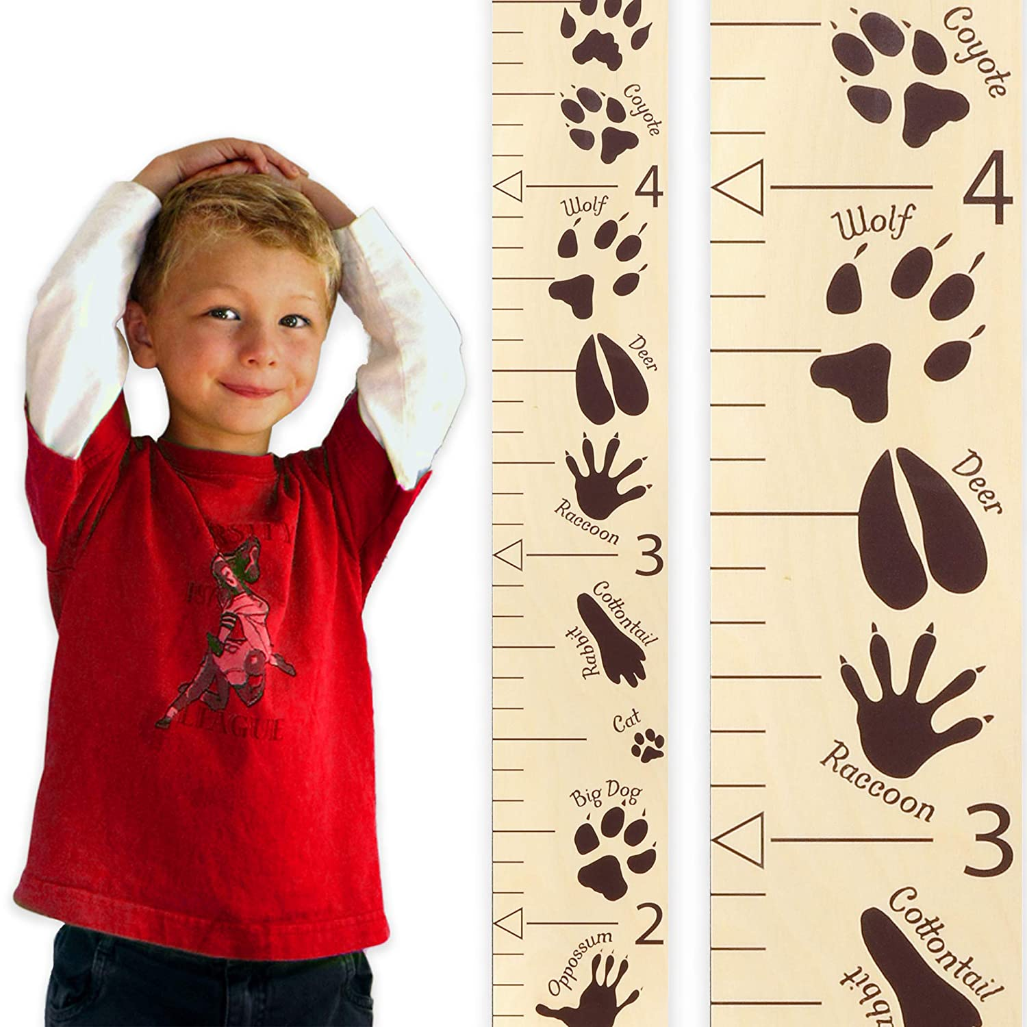 Growth Chart Art | Wooden Growth Chart Ruler for Boys | Growth Chart Ruler Kids Height Chart | Measuring Kids Height Wall Décor for Boys | Animal Tracks Gray R-PAWG