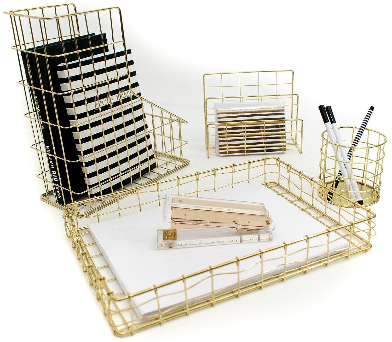 Blu Monaco Juego de organizador de escritorio de 4 piezas de alambre dorado