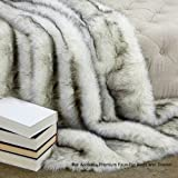 Sumptuous Luxury Faux Fur Throw Blanket - Designer Quality - Fur Accents - Made in America (40''x58'', Black Tip Fox)