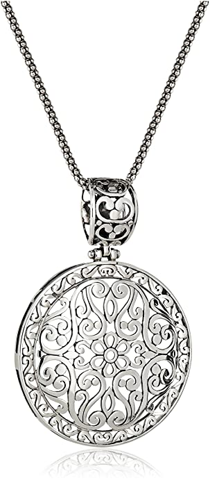 Amazon sterling silver bali inspired filigree pendant necklace sterling silver bali inspired filigree pendant necklace 18quot mozeypictures Images