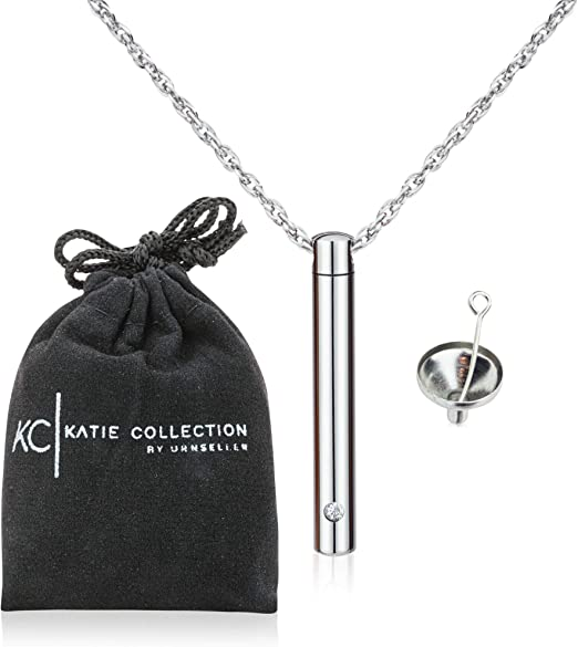 Katie Collection by Urnseller Mom Cremation urn Keepsake Jewelry bar with Necklace Chain for Ashes