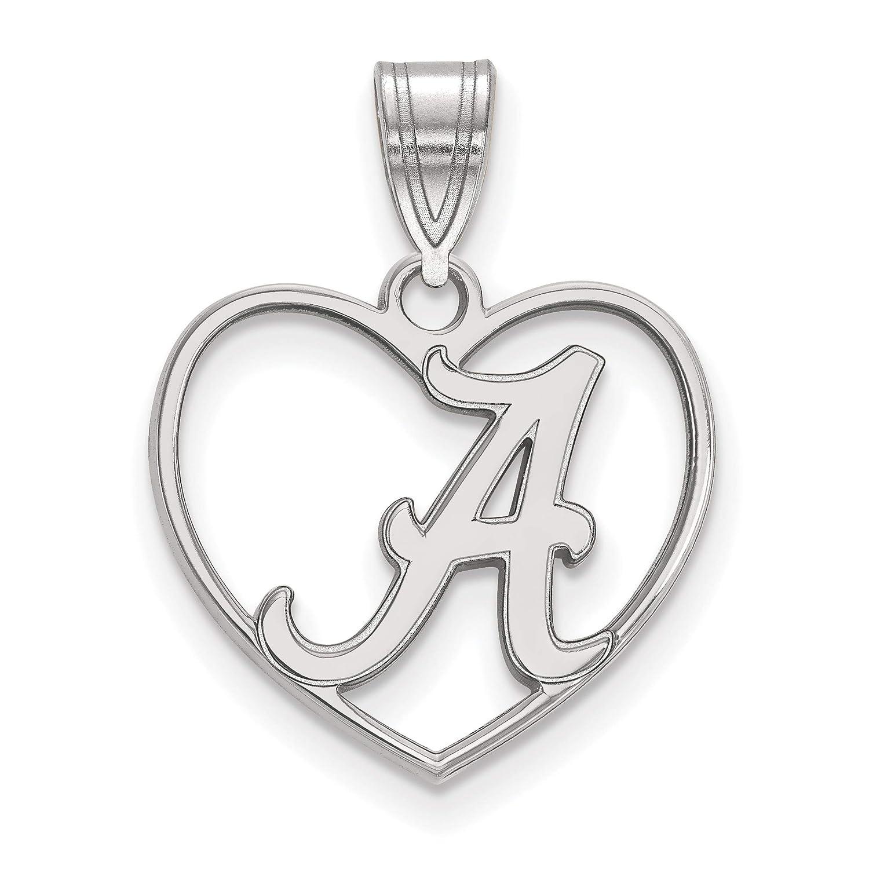 University of Alabama Crimson Tide School Letter Inside Heart Shaped Pendant in Sterling Silver 15x17mm