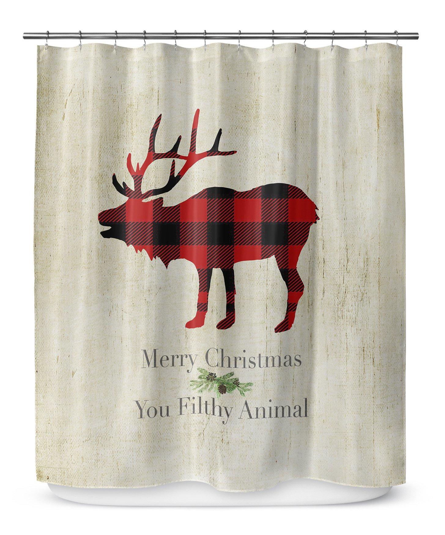 KAVKA Designs Filthy Animal Shower Curtain, (Beige/Red/Black) - TRADITIONS Collection, Size: 70x72 - (TELAVC1402SPLSC)
