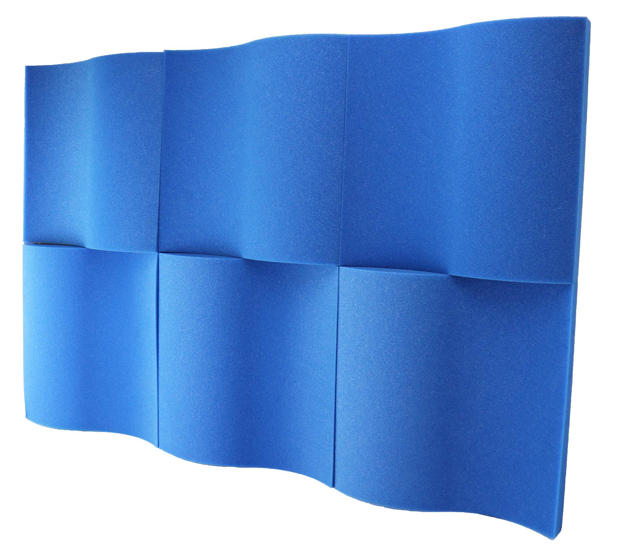 Foamily 6 Pack - Blue Decorative Acoustic Panels Studio Foam Waves 2'' X 12'' X 12''