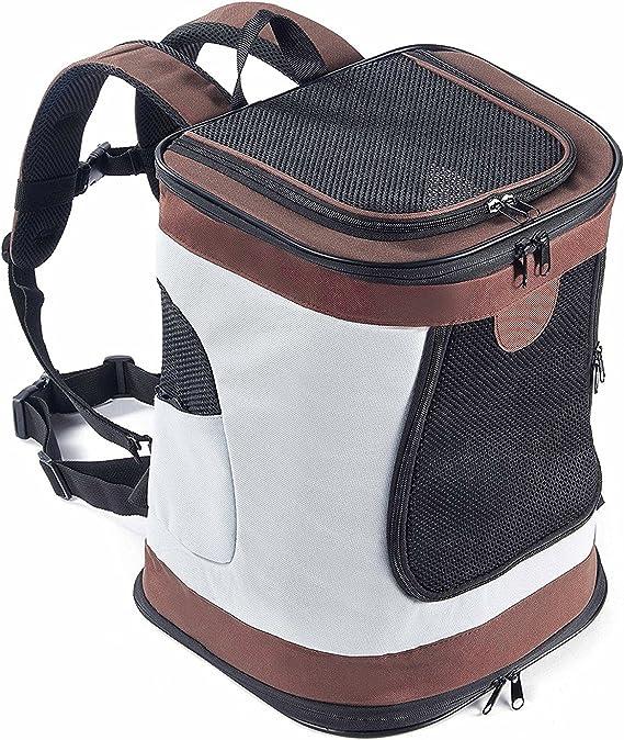 Transportín Plegable Mochila de viaje para perros y gatos Portador para mascotas con lados suaves, Marrón: Amazon.es: Productos para mascotas