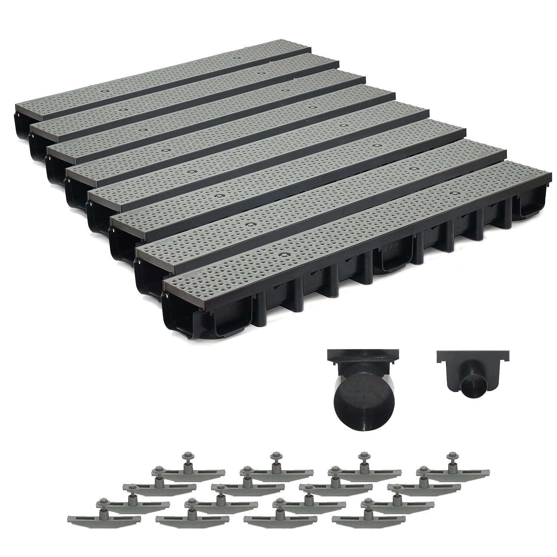 8m Entwässerungsrinne für modulares System A15 98mm, komplett Stegrost Kunststoff, Grau Decor