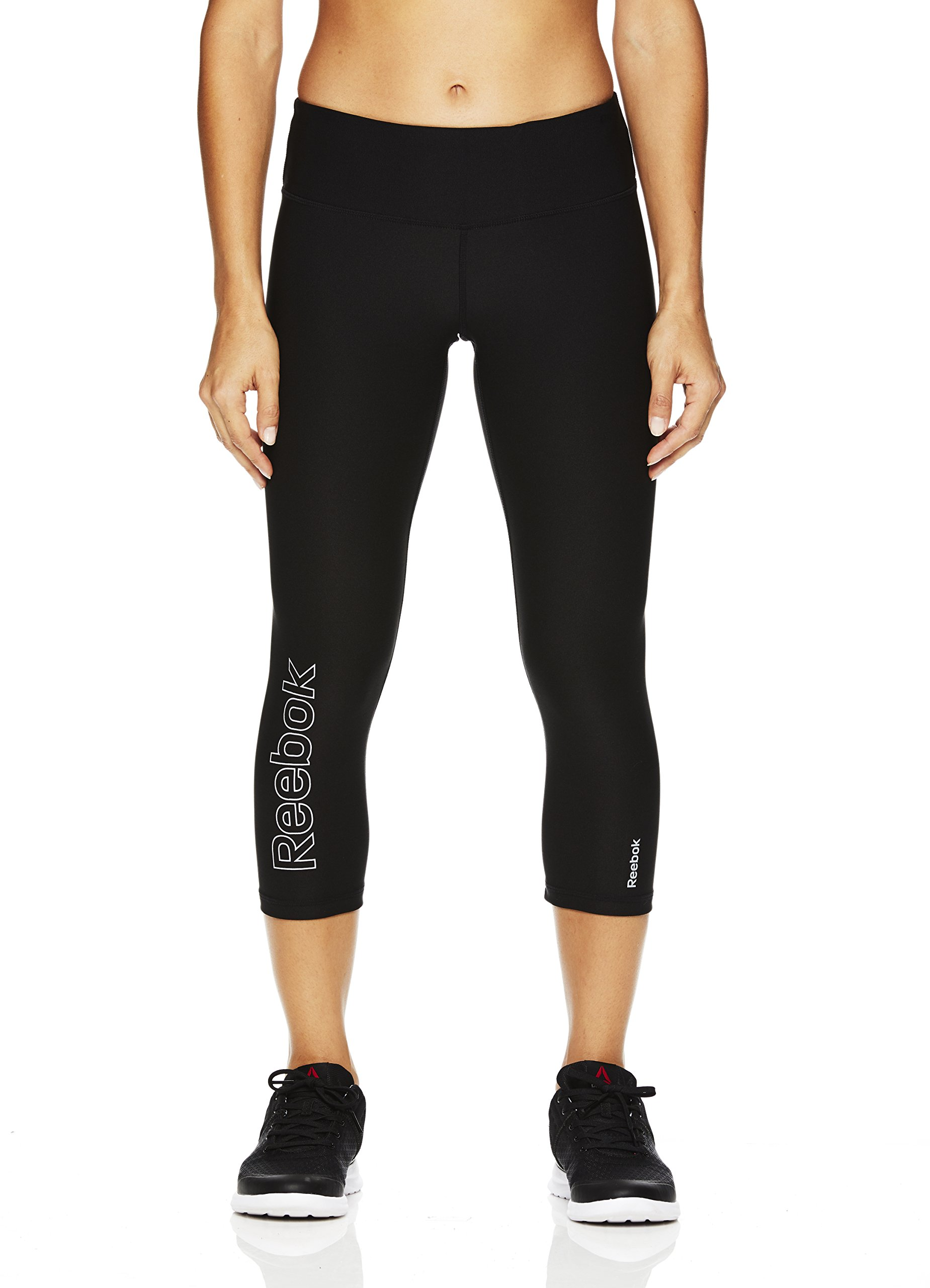 Galleon - Reebok Women s Printed Capri Leggings With Mid-Rise Waist  Performance Compression Tights - Midnight Black 7a3b75aed
