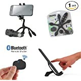 Gekkopod Pro Smartphone Mount Now with Selfie Remote - Portable and Flexible Smartphone Stand And GoPro Tripod Wrap, Compatible for all Cellphones (Black)